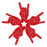 Five rock hands abstract symbol with five point star, black and Stock Image