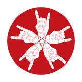 Five rock hands abstract symbol withpentagonal star Royalty Free Stock Photography