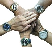 Five rolex sports watches in five hands Stock Photos