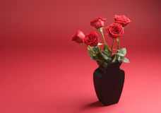 Five roses in the vase on the red background Stock Images