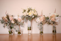Five roses wedding bouquets Stock Photos