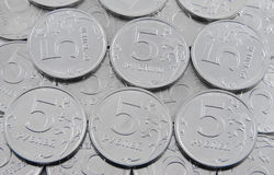 Five-rouble coins. Background from five rouble coins Stock Images