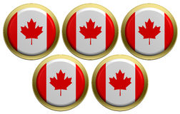 Five round of the Canadian flag isolated on white. Computer generated 3D photo rendering Royalty Free Illustration