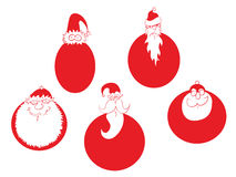 Five round Santa Claus Royalty Free Stock Photo