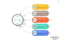 Five rounded rectangles connected with main circular element, thin line icons and text boxes. Steps to product release concept. Simple infographic design vector illustration