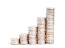Five rows of gold stack coins. On white background Stock Photo