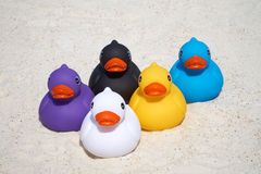 Five rubber ducks on the beach Stock Photo