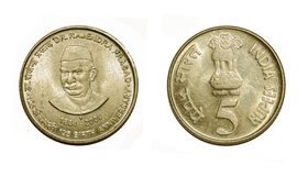 Five Rupees Coin Isolated Stock Image