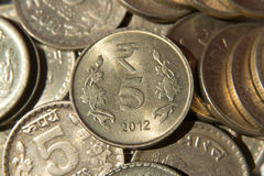 Five Rupees Coin of India Royalty Free Stock Images
