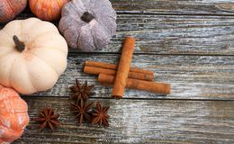 Five rustic aged pumpkins different colors on a rustic wooden background. Five Colorful aged pumpkins with star anise and cinnamon siicks all in horizontal form stock images