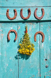 Five  rusty horseshoe on wall and medical st Johns wort flowers Stock Photos