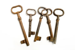 Five rusty keys Stock Images