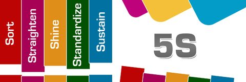 Five S Colorful Stripes Rounded Squares. 5S concept image with text over colorful background stock illustration