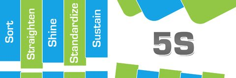 Five S Green Blue Abstract Shapes Horizontal. 5S concept image with text over green blue background stock illustration