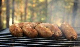 Five Sausage On The Grill Royalty Free Stock Images