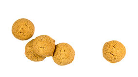 Five scattered ginger nuts seen from above Royalty Free Stock Photo