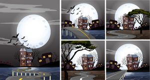 Five scenes of haunted houses at night Royalty Free Stock Images