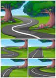 Five scenes of road in the park. Illustration royalty free illustration