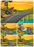Five scenes of road at sunset. Illustration Stock Photo