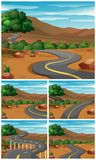 Five scenes with road to the mountains. Illustration Stock Photography