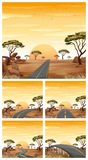 Five scenes with roads in savanna field. Illustration Stock Image