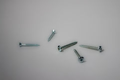 Five screws. On uncluttered background Royalty Free Stock Images