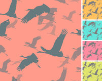 Five seamless textures with silhouettes of flying cranes. Bright colors royalty free illustration