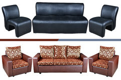 Five seat leather sofa. Isolated on a white background Stock Photography