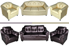 Five seat leather sofa Royalty Free Stock Photos