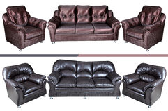 Five seat leather sofa Stock Photo