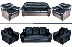 Five seat leather sofa Stock Images