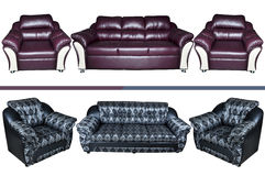 Five seat leather sofa. Isolated on a white background Stock Photos