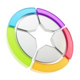 Five sector star emblem diagram isolated Royalty Free Stock Photos