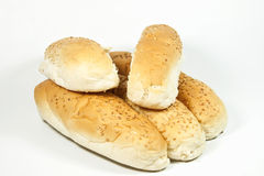 Five Seeded White Breadrolls on White Background Royalty Free Stock Photography