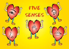 Five Senses Icon with hearts cartoon. Poster Royalty Free Stock Images