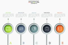 Five separate round elements with thin line icons inside and text boxes. Steps to software product release concept. Creative infographic design layout. Vector Stock Photo