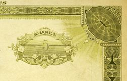 Five Shares Again. Shot of antique stock certificate for 5shares stock photography