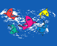 Five sharks. Five hungry sharks flowing with the sea Vector Illustration