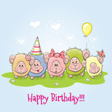 Five sheep. Birthday card cute Five sheep on a meadow Royalty Free Stock Photography