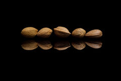 Five shelled almonds isolated on black background Stock Images