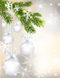 Five shiny glossy silver balls with bows and fir branch on beautiful Christmas background. Hang on a tape among. Snowflakes. Christmas toys. vector illustration Stock Photography