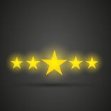 Five shiny golden stars Stock Images