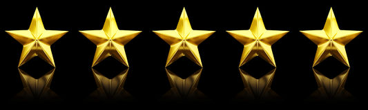 Five shiny golden stars. 3d rendering Royalty Free Stock Photos