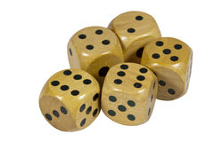 Five Shiny Wooden Dice with Black Dots Royalty Free Stock Photography