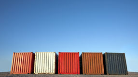 Five shipping containers Royalty Free Stock Photo
