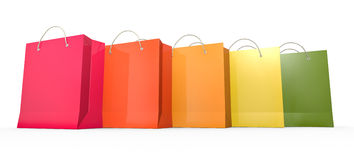 Five shopping bags. Five colorful shopping bags. 3D rendered illustration Stock Photography