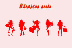Five shopping girls joying Royalty Free Stock Photography