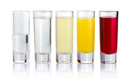 Five shot drink cocktails  on white Stock Image