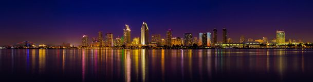 San Diego Skyline. Five shot stich panorama of the san diego skylind royalty free stock image