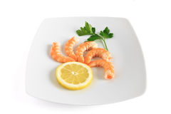 Five shrimps with lemon Stock Image